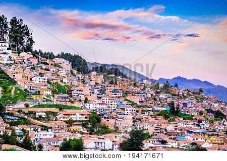 Cusco Peru - City in southern Peru in the Urubamba Valley of the Andes mountain range.