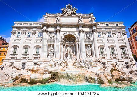 Rome Italy. Famous Trevi Fountain and Palazzo Poli (Italian: Fontana di Trevi) in italian city of Roma.