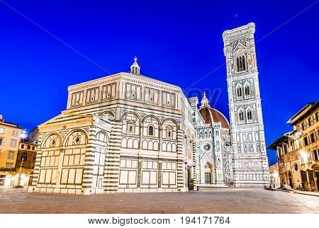 Florence Tuscany - Night scenery with Piazza del Duomo and Catedrale Santa Maria del Fiori Renaissance architecture in Italy.