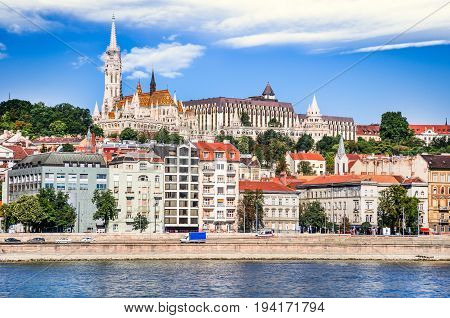 Budapest Hungary - Matthias Church Fisherman's Bastion and Danube River in hungarian capital city.