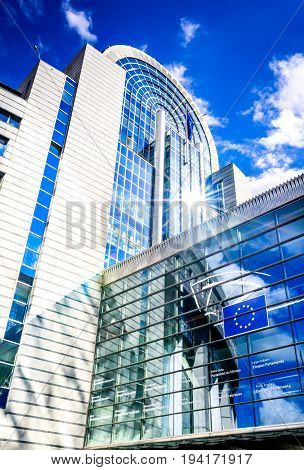 BRUXELLES BELGIUM - 13 AUGUST 2014: View of the European Parliament building in Brussels Bruxelles Belgium. The European Parliament is the elected parliamentary institution of the European Union.