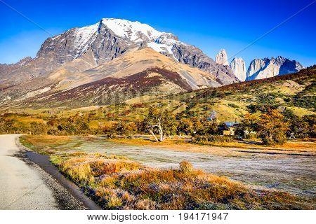 Patagonia Chile - Torres del Paine (2850 m) and Monte Almirante Nieto (2640 m). Cordillera Paine Magelanes Region South America.