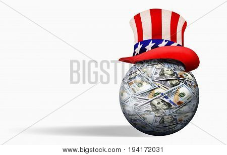 American money ball with Uncle Sam hat with room for your type.
