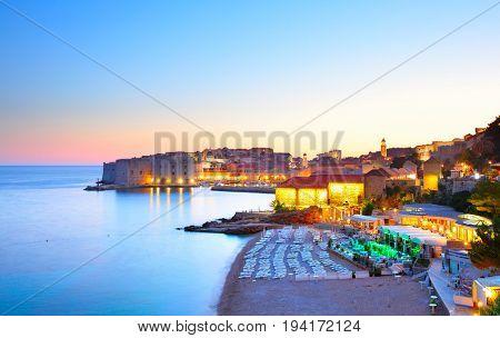 Panoramic view of Dubrovnik at sundown, Croatia