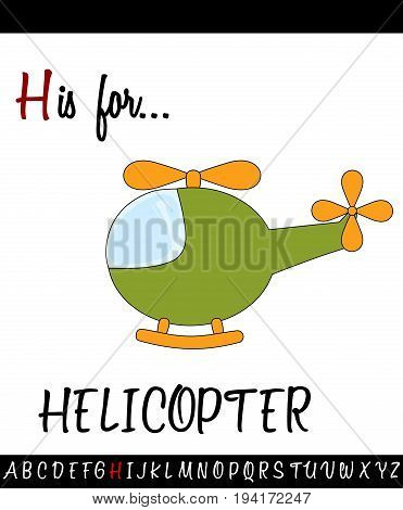 Illustrated vocabulary worksheet card with cartoon HELICOPTER for Children Education