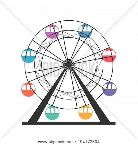 Ferris wheel icon. Carnival. Funfair Carousel from amusement park. Isolated on white background