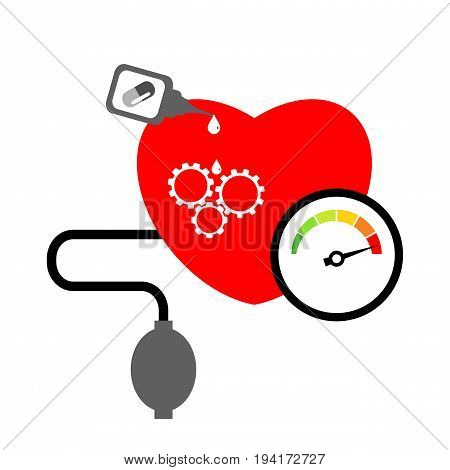 Heart disease and blood pressure measuring concept isolated on white background