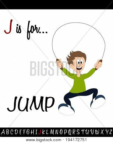 Illustrated vocabulary worksheet card J is for JUMP for Children Education