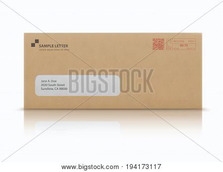 Vector illustration of closed brown envelope for letters and documents with transparent window and post stamps isolated on white background. Mockup post envelope.