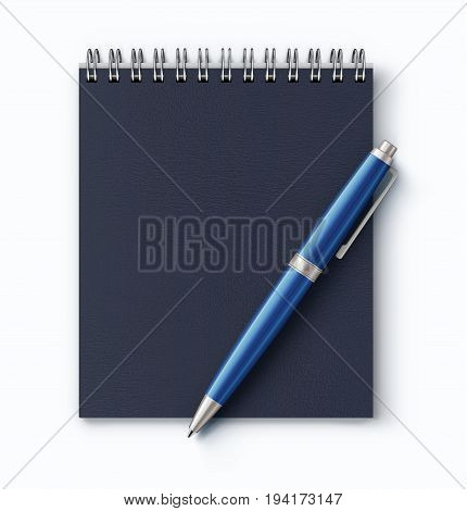Vector illustration of top view of closed spiral faux leather cover notebook with detailed blue classic ballpoint pen on white desk background