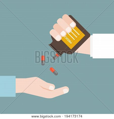 Doctor or pharmacist dispense capsule of medicine from bottle for patient