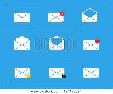 Vector illustration Email mailbox icons set of 9 envelopes for messages