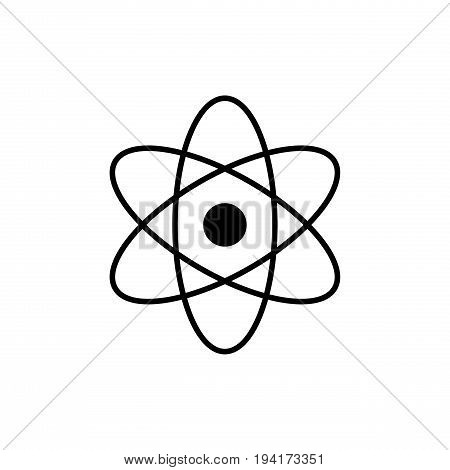 Atom logo. Science sign. Nuclear icon. Electrons and protons. Isolated on white background. Symbol for your web site design logo app