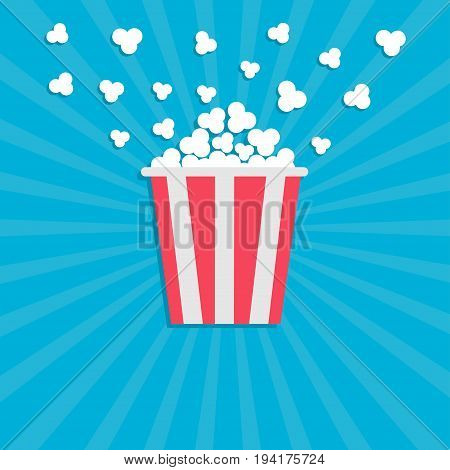 Popcorn popping. Cinema movie icon in flat design style. Red yellow strip box. Blue star burst wave background Vector illustration