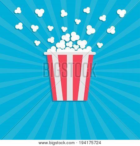 Popcorn popping. Cinema movie icon in flat design style. Red yellow strip box. Blue star burst wave background Vector illustration