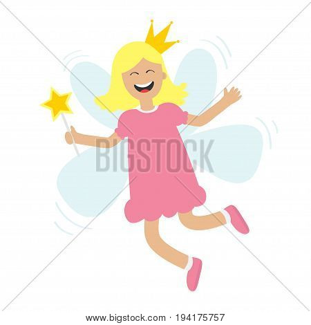 Tooth fairy flying wings. Smiling teeth mouth. Happy girl holding star magic wand. Cute baby teeth cartoon laughing character in dress crown Smiling woman White background Isolated Flat design Vector