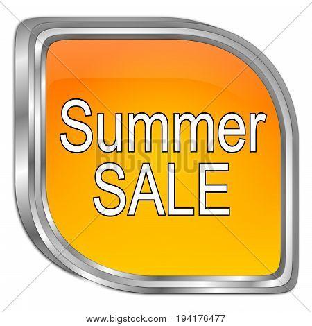 glossy orange Summer Sale Button - 3D illustration