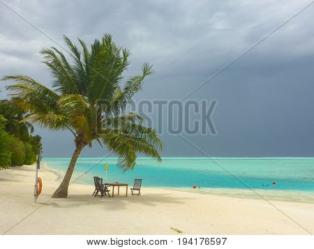 A storm approaching on an island in the Maldives