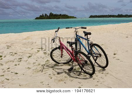 Two bikes on the beach in the beautiful Maldives