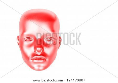Creative image of a red head of a dummy on a white background closeup isolated