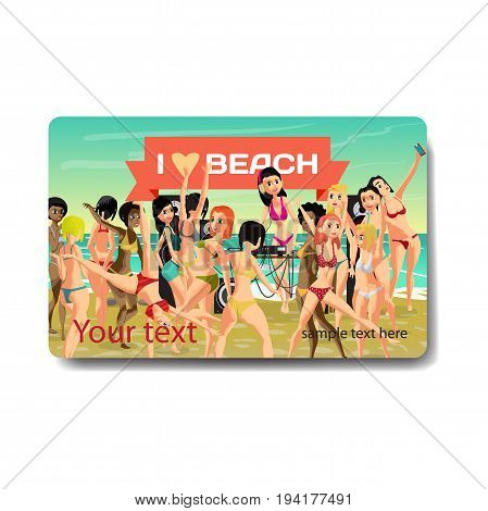 Summer hen-party. Young women in bikini dancing at a disco on the beach at sunset. Sale discount gift card. Branding design to the resort