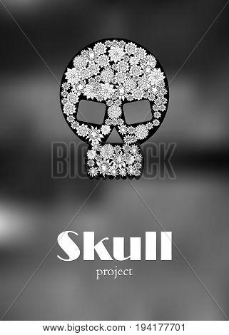 Skull in floral style your concept design. Vector illustration. Black n White