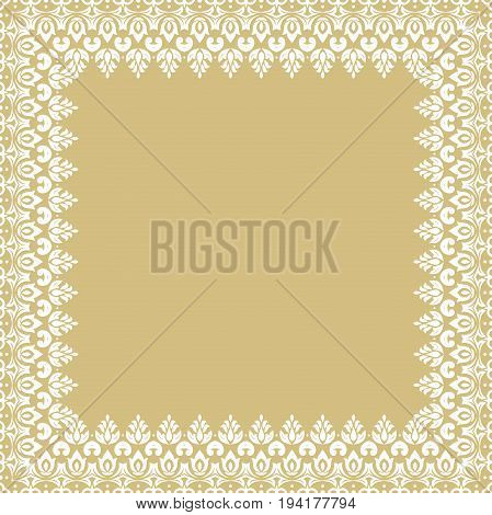 Classic white square frame with arabesques and orient elements. Abstract ornament with place for text. Vintage pattern