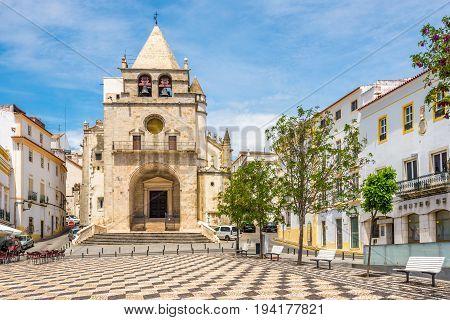 ELVAS,PORTUGAL - MAY 16,2017 - Church of Nossa Senhora da Assuncao in Elvas. Elvas is a Portuguese municipality former episcopal city and frontier fortress of easternmost central Portugal.
