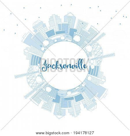 Outline Jacksonville Skyline with Blue Buildings and Copy Space. Business Travel and Tourism Concept with Modern Architecture. Image for Presentation Banner Placard and Web Site.