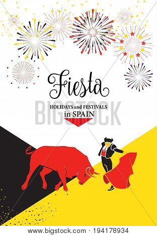Spain fiestas or festivals abstract poster design. Spanish San Fermin Festivals main attraction, famous celebration, Pamplona fiesta banner with firework and lettering. Vector illustration.