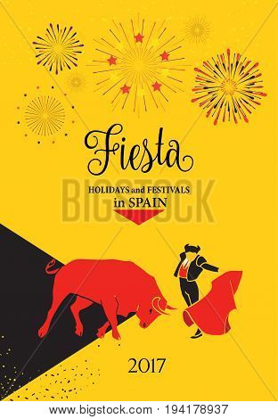 Spain festival abstract background. Spain fiestas or festivals abstract poster. Spanish San Fermin Festivals. The running of the bulls is the main attraction in this famous celebration, Pamplona fiesta. Vector illustration