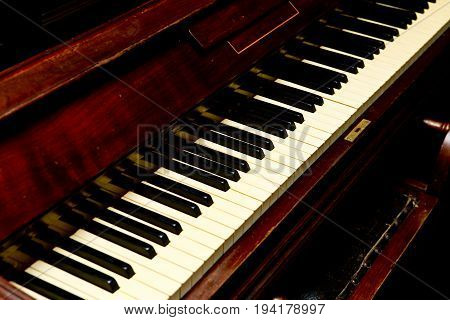 Antique Piano - Piano Keys Angled View