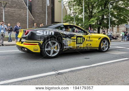 Riga, LV - JULY 1, 2017: Gumball 3000 Race Car 111
