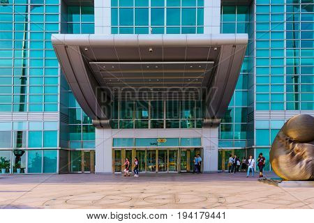 TAIPEI TAIWAN - MAY 31: This is the entrance to the Taipei 101 building where many office workers and business people may enter through in the Xinyi financial district on May 31 2017 in Taipei