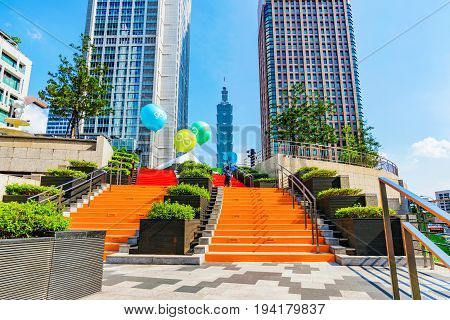 TAIPEI TAIWAN - MAY 31: Xinyi financial district architecture taken in the Taipei city hall area with the 101 building in the distance on May 31 2017 in Taipei