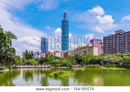 TAIPEI TAIWAN - MAY 31: This is a scenic view of Taipei 101 and Xinyi financial district architecture taken from Sun Yat-sen memorial hall park on May 31 2017 in Taipei