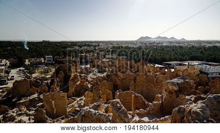 View of Shali old city ruins in Siwa oasis in Egypt
