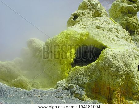 Fumarole in active crater of Mutnovsky volcano at Kamchatka Russia