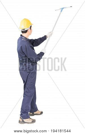 Young Man Hold Squeegee Window Cleaner Isolated On White