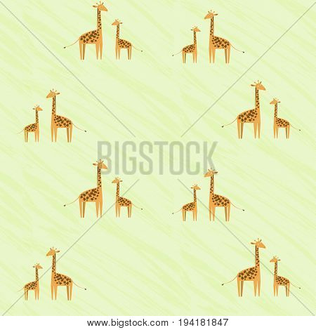 Cute kids pattern with giraffe family. Baby giraffe and his mother looking at each other. Nice childrens pattern for textile wrapping paper wallpaper background covers banners