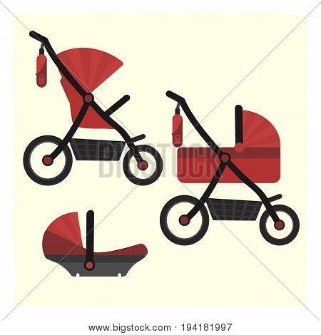 Flat red baby carriage transformer icon. Vector childrens pram 3 in 1 symbol including carriage stroller and safety car seat. Cute colorful baby girl and boy unisex transport symbol