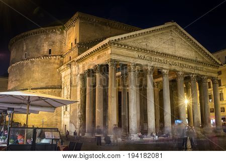 Lateral view on Pantheon facade at night, Rome autumn Italy