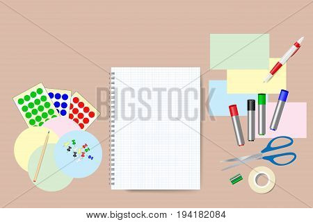 Blank notepad is in the middle of the vector. Education equipment is around the notepad. Free place for your text is on the blank notepad.