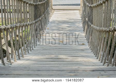 rope suspension bridge made from rope and wooden
