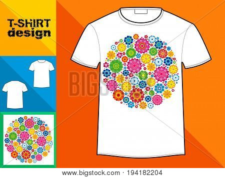 Template T-shirt with an trendy design: Flowers circle.
