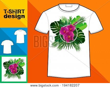 Template T-shirt with an trendy design: Orchid and tropical leaves.