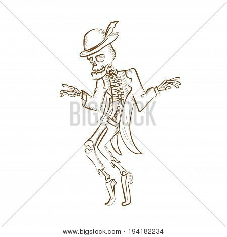 Dancing sceleton.Engraved hand drawn vector illustration. Isolated on white background. Could be used for Halloween decoration, prints, greeting card or invitation.