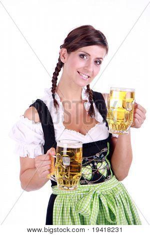 Bavarian woman celebrating the oktoberfest