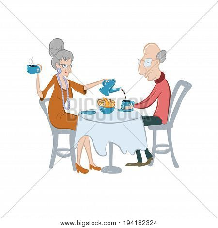 Lovely old couple drinking coffee or tea. Senior people have a coffee break. Vector illustration. Cute elderly characters in cartoon style. Concept for five'o'clock ot tea time.