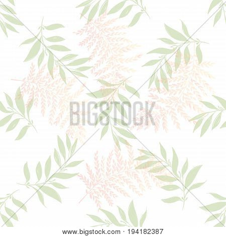 Seamless pattern with wild herbs. Branches and leaves. White background. Cute pattern with leaves. Floral endless pattern different plants. The elegant the template for fashion prints. Vector
